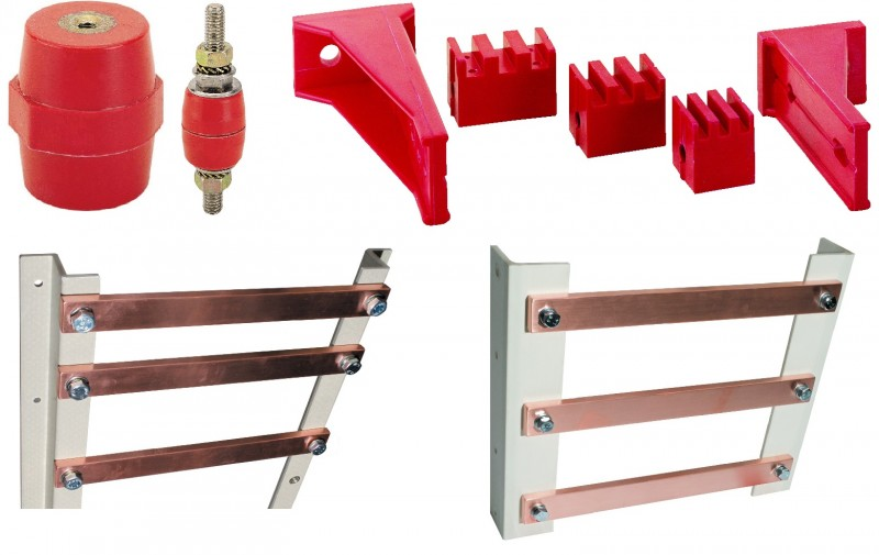 Bus bar insulators and supports